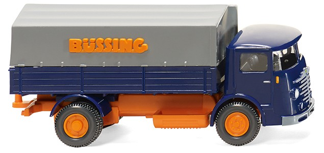 Wiking: Büssing 4500 Pritschen-Lkw, blau/orange