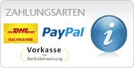 Zahlungsarten - PayPal, Vorkasse usw..